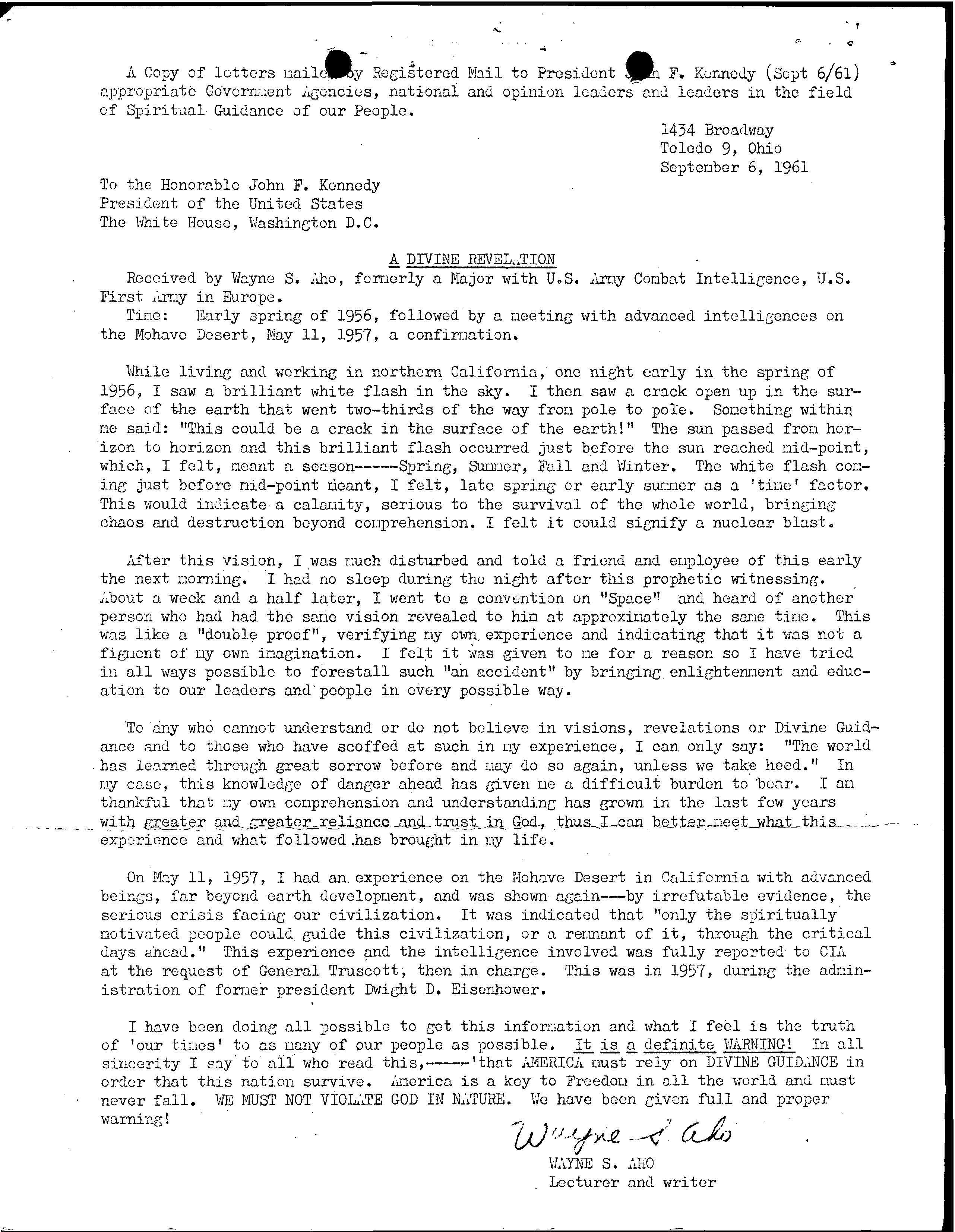 6-61 letter to JFK