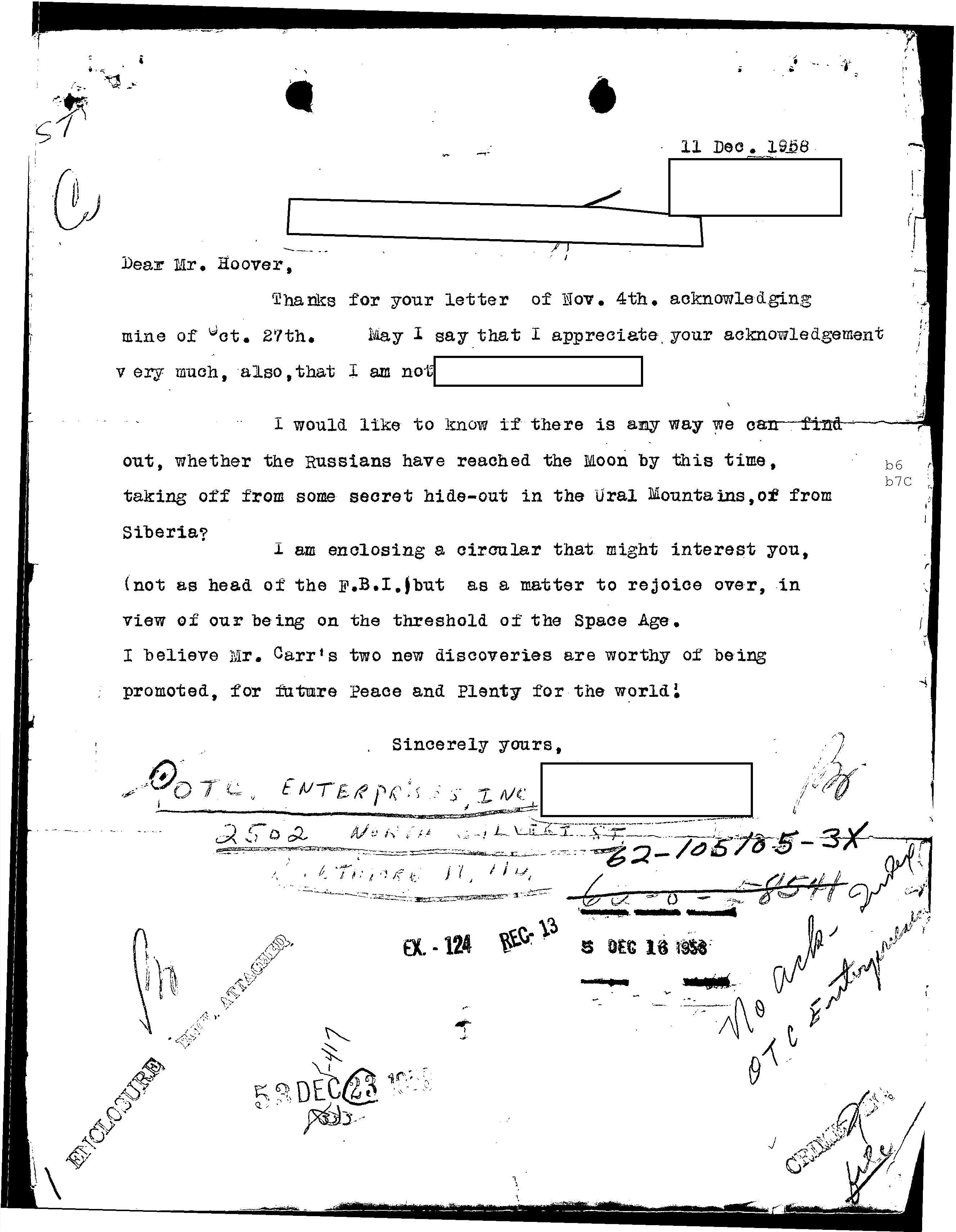 Letter to Hoover